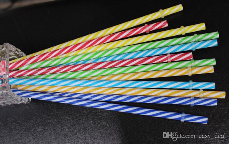 Colorido reutilizable de plástico duro raya pajas de beber fiesta de cumpleaños decoración de la barra suministros envío gratis ZA6214