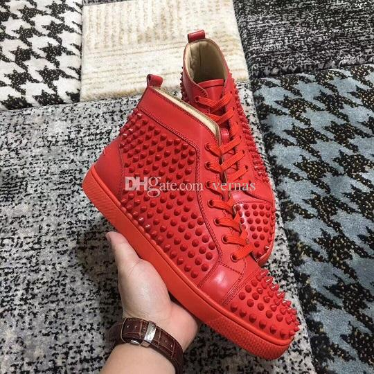 c57376403c0f High Top Sneakers Spikes Red Bottom Fashion Men