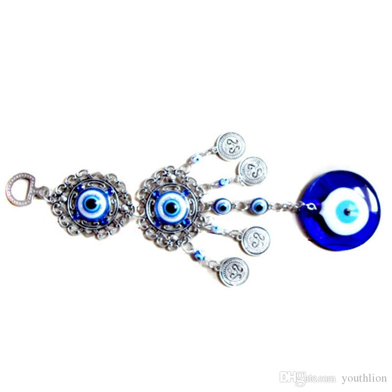 Turkish Blue Evil Eye Wall Hanging Amulet Protection High Quality Alloy  Glass Amulet Home Office Decotation Birthday Blessing Gift