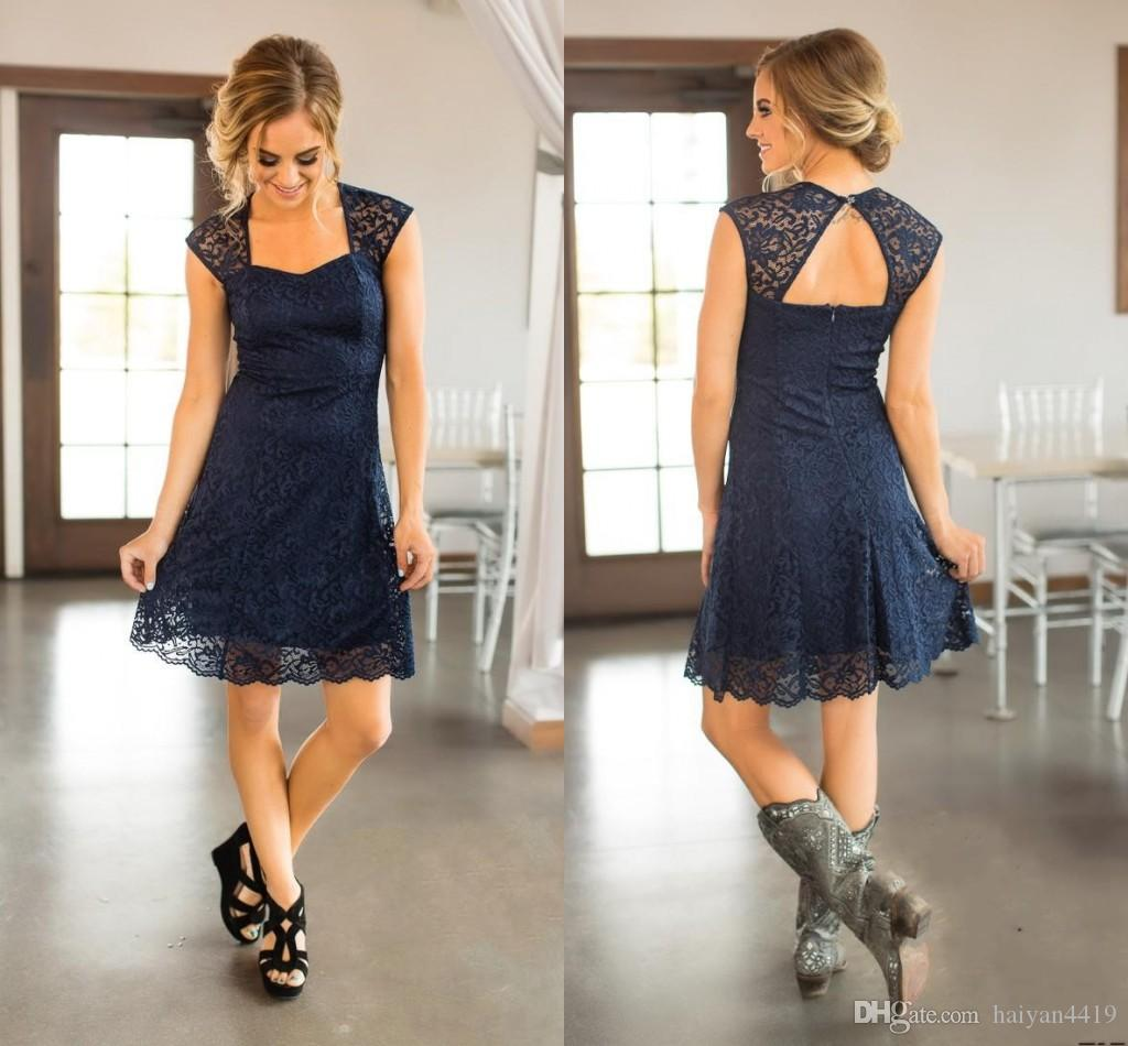 Short Beach Navy Blue Full Lace Bridesmaid Dresses Capped Sleeves Knee Length Maid Of Honor Gowns Cheap Country Wedding Guest Dress