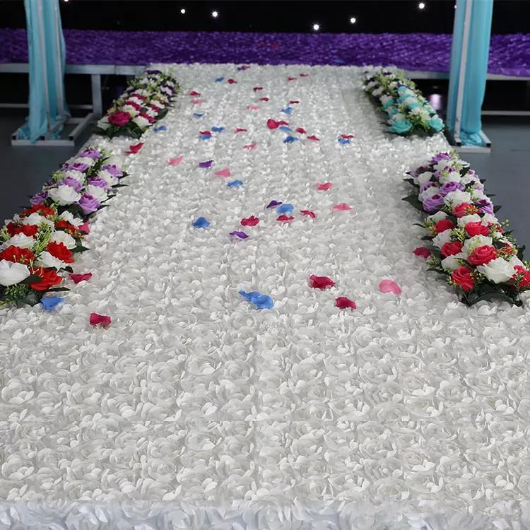 ارتفع الأرجواني 3d البتلة الزفاف الجدول ديكورات خلفية عرس الحسنات السجادة الحمراء الممر عداء ل حفل زفاف لوازم الديكور