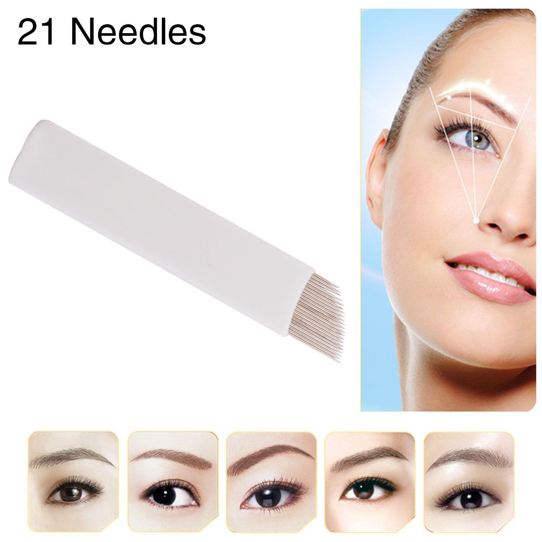 Caution Permanent Eyebrow Makeup Manual Tattoo Bevel Blades 21