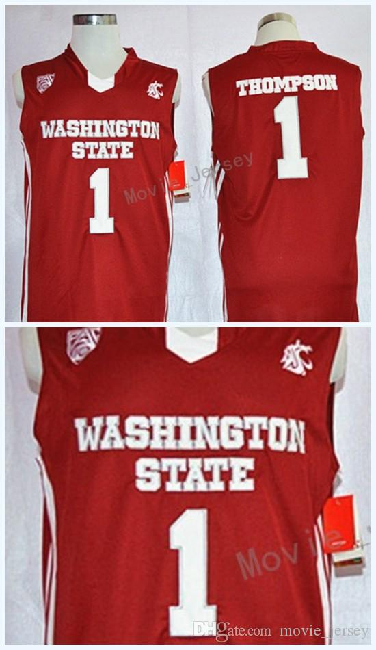 12d87cfd7 ... spain germany 2018 college baskeball mens jerseys 1 klay thompson  washington state cougars throwback red stitched
