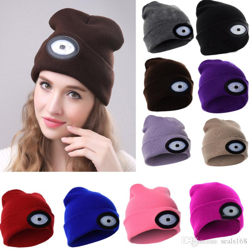 LED Light Beanies Cap Hat Women Men Winter Warm USB Charge Caps Elasticity  Knitted Caps Glow Beanie Outdoor Christmas Party Hats HH7 1832 1st Birthday  Hat ... 98c147e69551