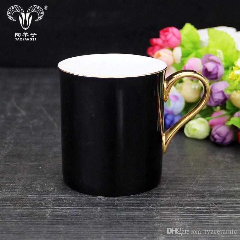 New Bone China Tazza da caffè in ceramica nera con manico in oro logo oro regalo perfetto di alta qualità