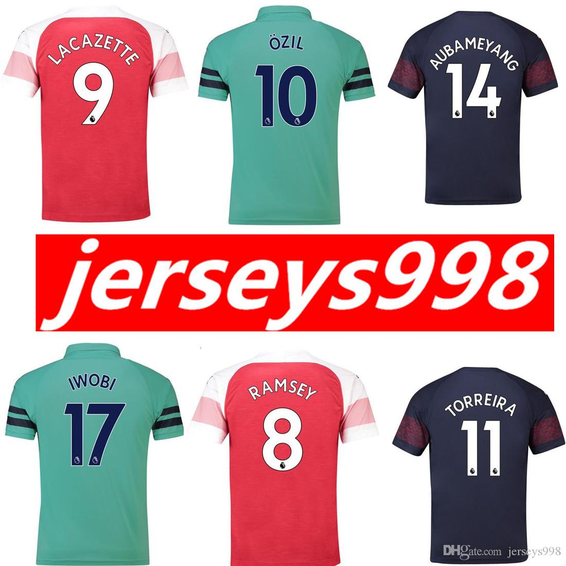 473b7192 ... ebay 2018 18 19 arsenal soccer jersey men home away 3rd 14 aubameyang  10 ozil 9