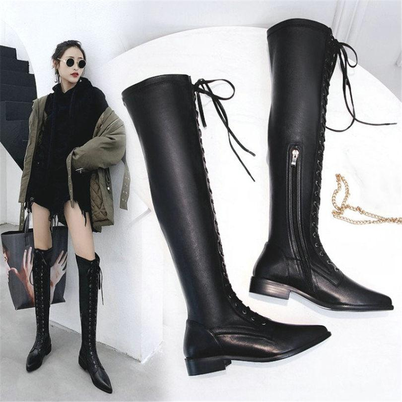 3e1a015c22f7 NAYIDUYUN Thigh High Boots Women Black Cow Leather Lace Up Knee High Riding Booties  Low Heel Tall Shaft Punk Sneaker Oxfords Leather Boots For Women Sporto ...