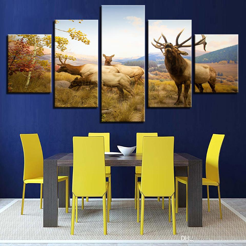 Modular Painting Modern 5 Panel Animal Deer Decoration Picturs Wall ...
