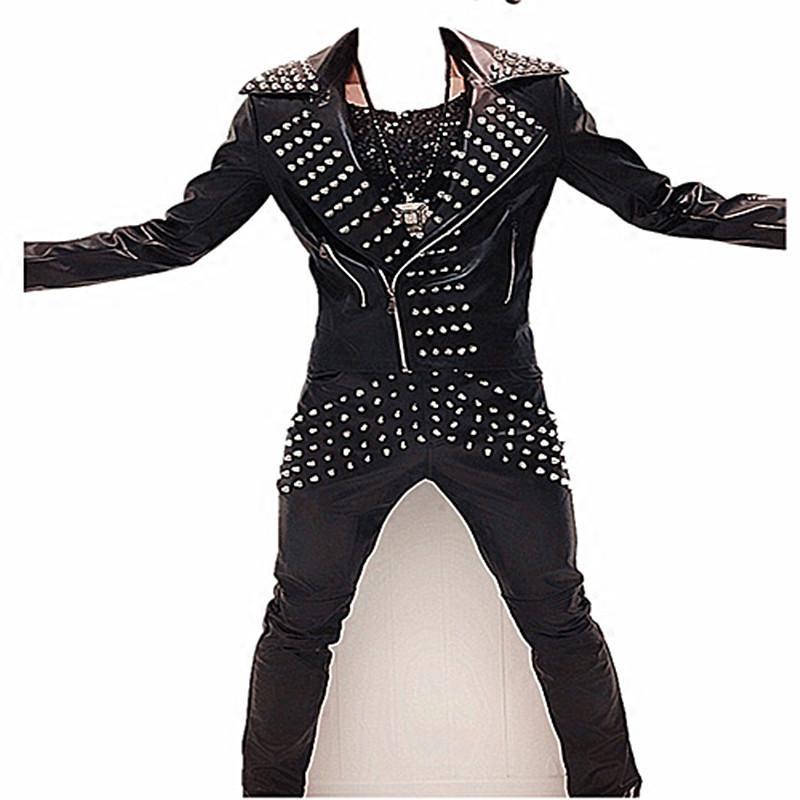 Erkek PU deri perçin gelgit suit müşteri moda ceket pantolon 2 parça setleri sahne kaya coat pantolon gösterisi gece kulübü bar balo dj