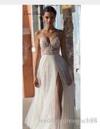 Grosshandel Sexy Illusion Reise Hochzeitskleid Strand Brautkleid