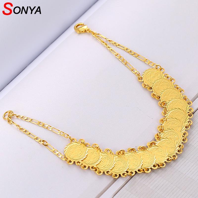 Großhandel Sonya Gold Farbe Geld Münze Armband Islamischen