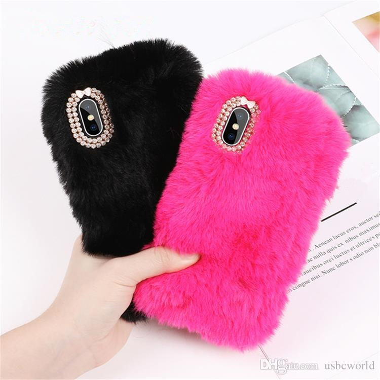 c26336e88d Rabbit Hair Case Bling Diamond Fluffy Animal Fur Cover For Iphone X XR XS  MAX Back Cover For Iphone 6 7 8 Plus