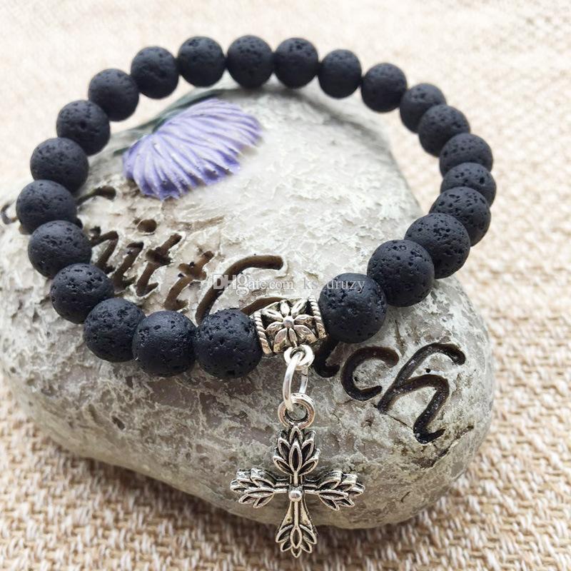 Antique Cross Hanging Natura Black Lava Stone Beads Elastic Bracelet Essential Oil Diffuser Bracelet Volcanic Beaded Hand Strings Jewelry