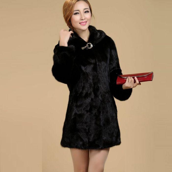Yeni 2018 Kadın Artı Boyutu Kadın Giyim 5XL 4XL Moda Orta Uzun Lüks Sahte Vizon Kürk Palto Siyah Beyaz Faux Kürk ceket