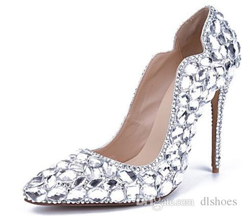 dc5030a41e055a 2018 Handmade Bling Pure Rhinestone Wedding Shoes Woman Pointed Toe Crystal  High Heel Shoes Women Sexy Pumps Leather Shoes For Men Mens Sneakers From  ...