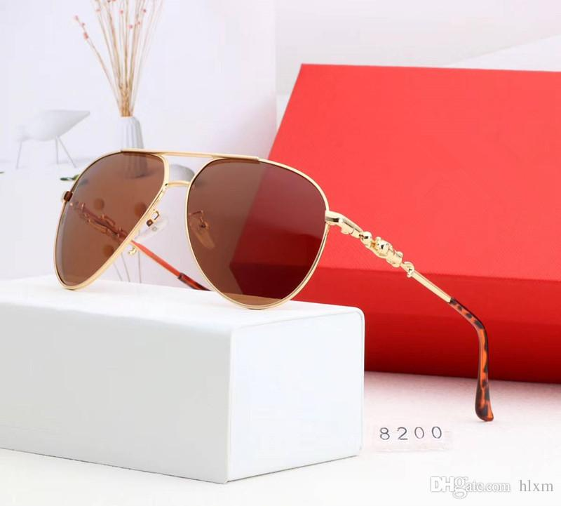 2018 Luxury Brand Couple Sunglasses Male and Female Leopard Head and Female Pair With Fashionable metal glasses 8200