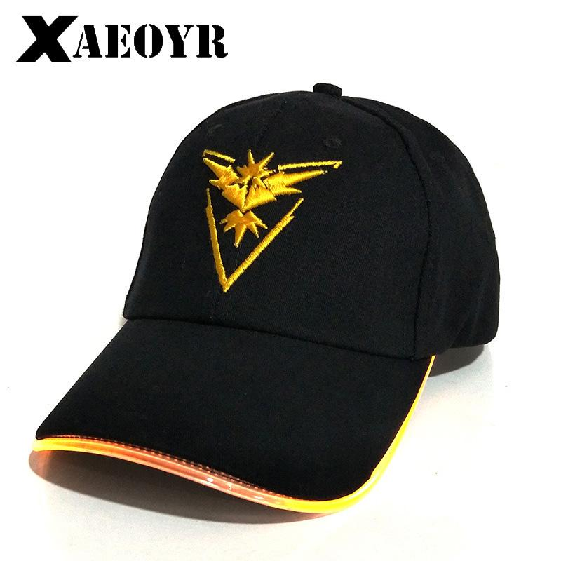 fd5a0b8c72b 2018 New LED Light Go Cap Hat Team Valor Team Instinct Baseball Cap For Women  Mens Fitted Hats Glow In The Dark Trucker Hat 59fifty From Nectarine99
