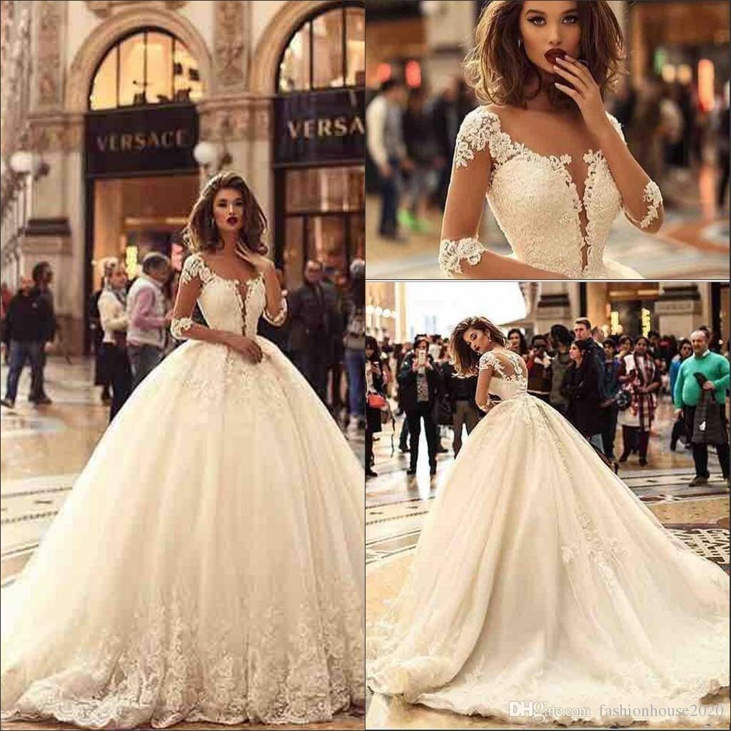 aeaf9e705bd 2018 Arabic Luxury Half Sleeves Ball Gown Wedding Dresses Sheer Neck ...