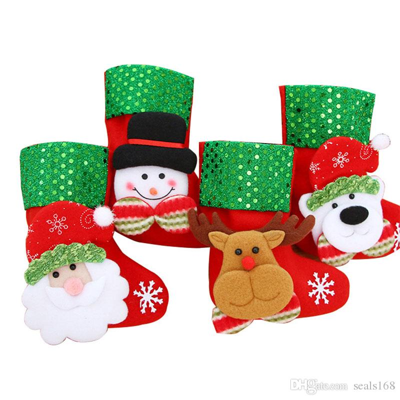 Christmas Candy Decorations.Christmas Candy Socks Sequin Gift Wrap Bags Stocking For Christmas Tree Ornaments Decoration Santa Claus Reindeer Bear Snowman Hh7 1778