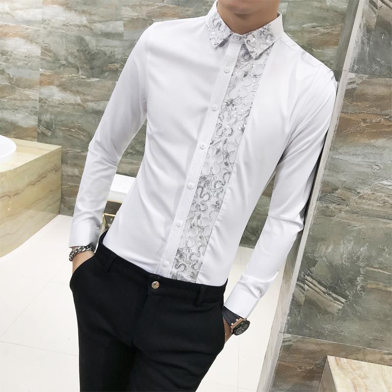 1cf3531e254 2019 Sexy Lace Patchwork Shirt Men Spring 2018 New Slim Fit Long Sleeve Men  Tuxedo Shirt Night Club Work Dress Blouse 3XL M Hot From Xiayuhe