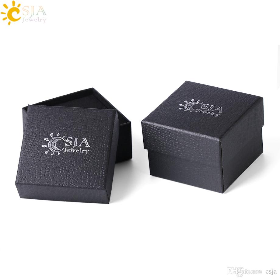Csja Men Women Jewelry Gift Box Rings Necklaces Earrings Pendants Storage Packaging Square Cardboard Paper Jewellery Carton 3 Sizes F297