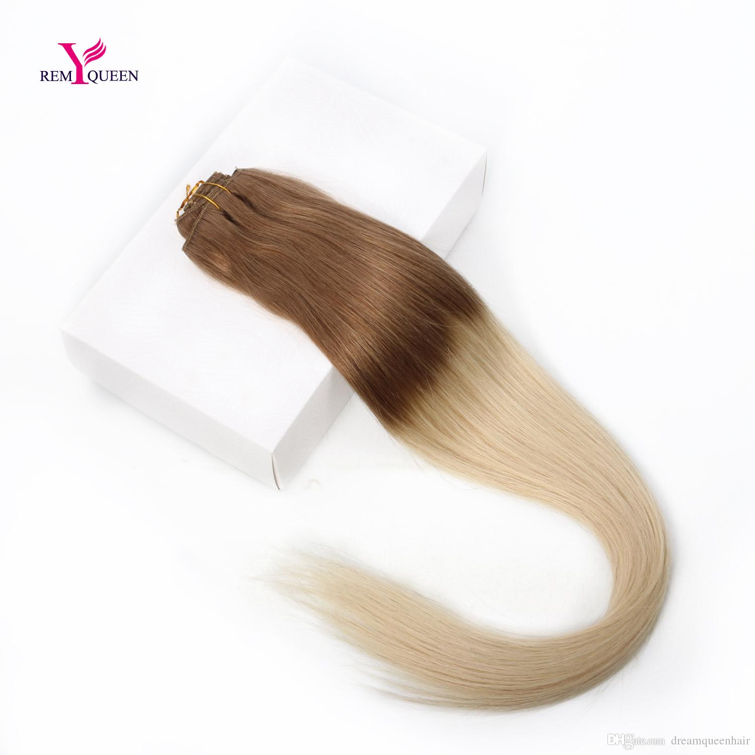 Dream Remy Queen 7A Silk Straight Remy Hair Clip In Human Hair Extensions Ombre Color T6/613 Full Head