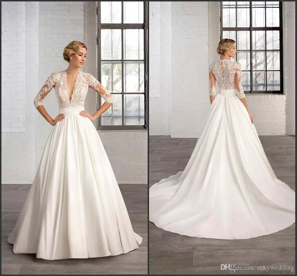 Discount Elegant Satin Lace Wedding Dresses Half Sleeves Deep V Neck ...