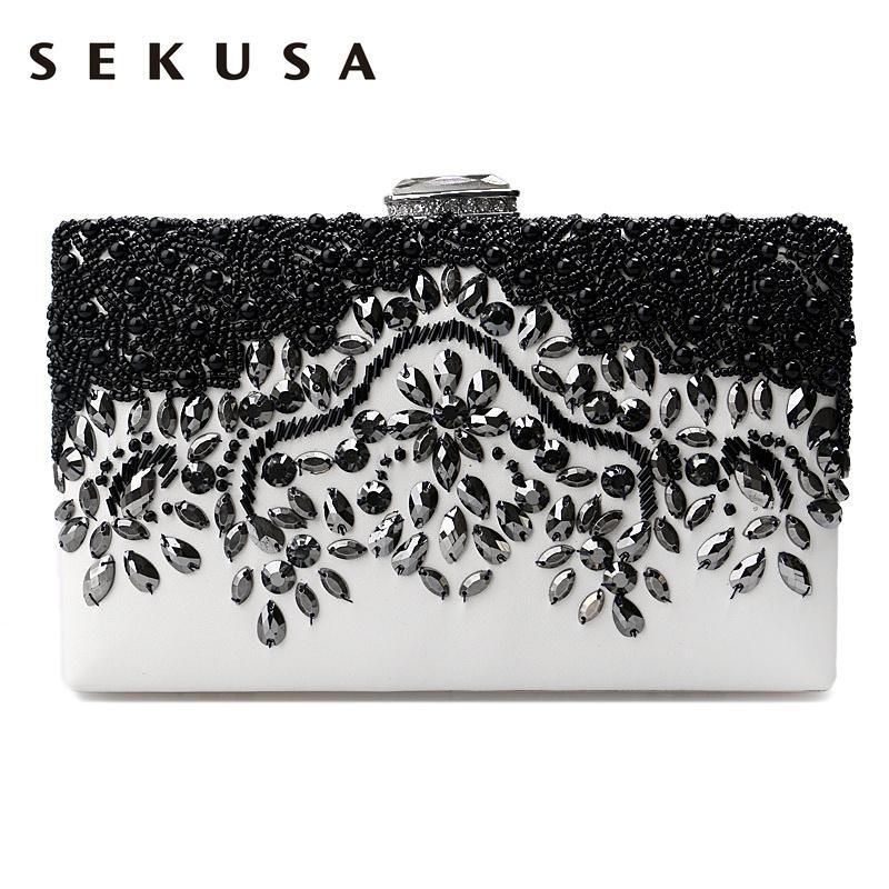 Luggage & Bags Clutches 2019 Fashion Sekusa Diamonds Flower Women Pu Fashion Bag Small Day Clutch Evening Bag Crystal Chain Shoulder Handbags For Party Wedding Purse