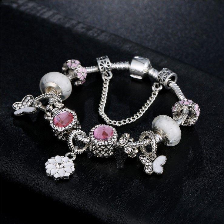 Fashion 925 Sterling Silver White Murano Lampwork Glass & European Charm Beads Butterfly Dangle Fits Pandora Charm Bracelets & Necklace