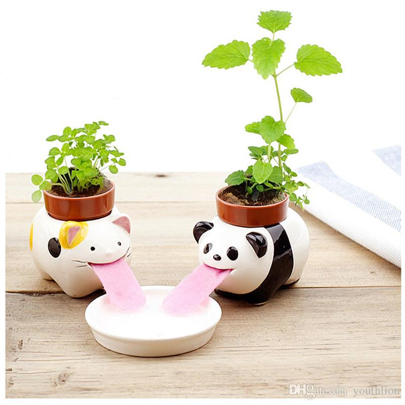 225 & Ceramic Plant Pots Self Watering Animal Planter Cute Mini Multi-style Drinking Animal Tongue Clutivation Lovely Creative Gift Free Shipping