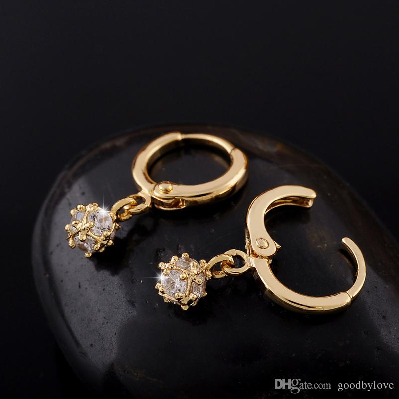 18K Gold Plated Cubic Zircon CZ Small Ball Charm Drop Dangle Earrings Fashion Party Costume Jewelry for Women Girls