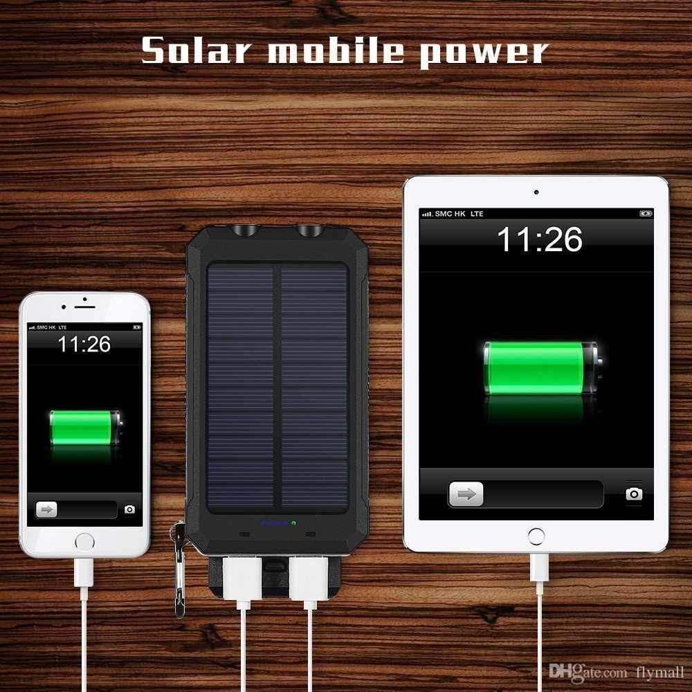 Chargeur de batterie solaire externe Powerbank 10000mah de chargeur de batterie solaire étanche avec Power LED Compass pour téléphones intelligents
