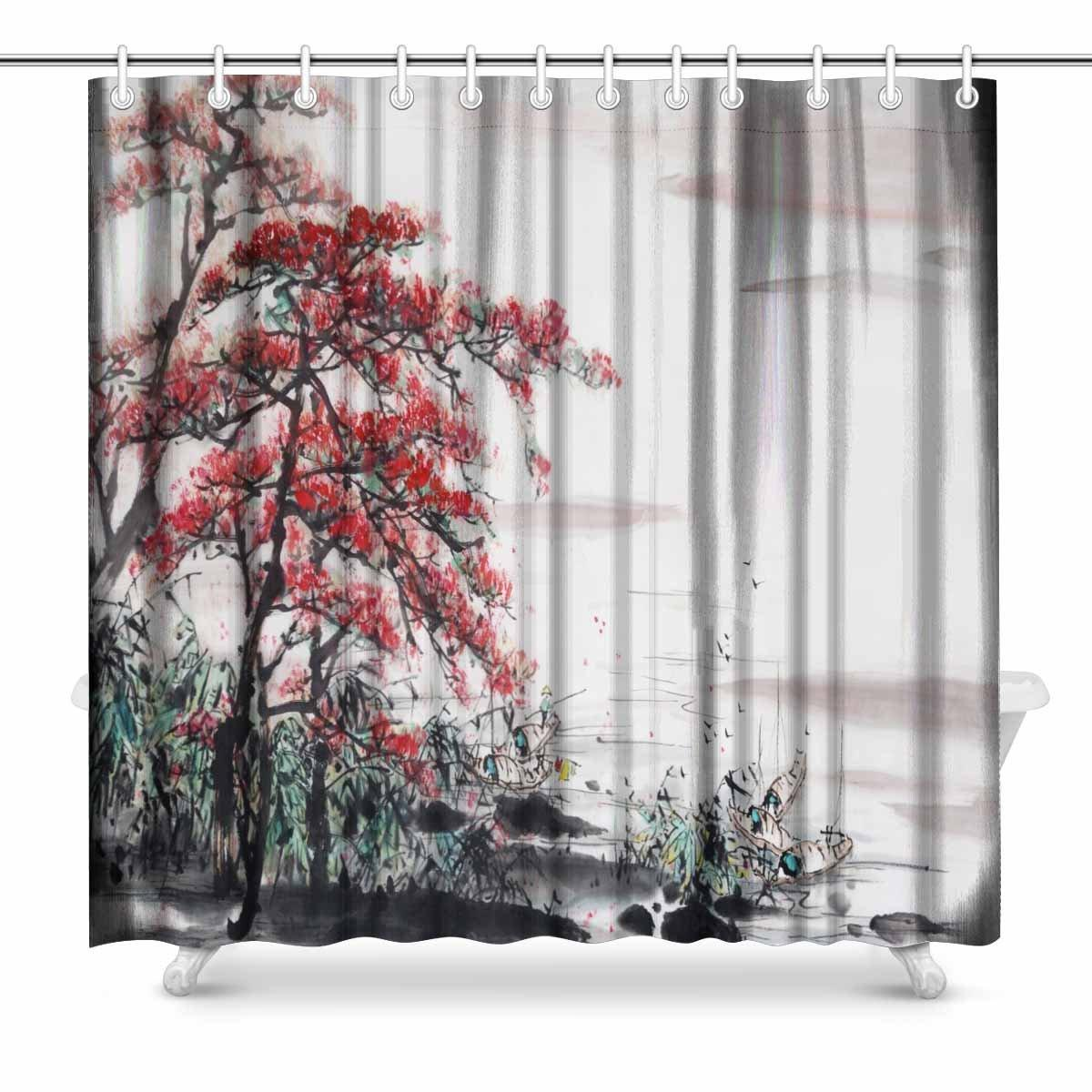 2018 Aplysia Landscape Scene Decor Painting Artwork Print Traditional Chinese Art Shower Curtain Set 72 X Inches From Lienal