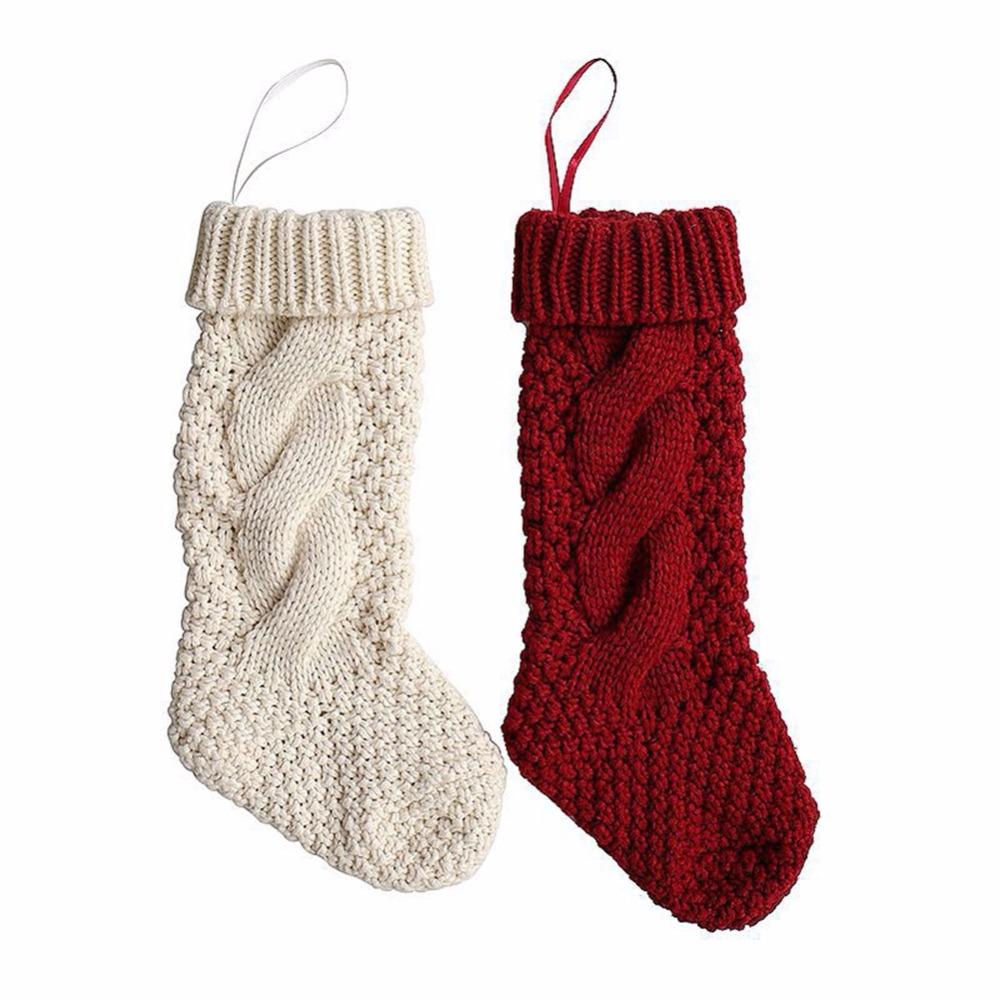Imixlot Christmas Stocking Knitted Christmas Gift Bag Stocking ...