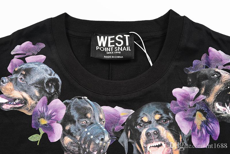 2018 new fashion brand high-end men Casual neckline Dog necklace purple Flowers printing T-Shirts men cotton round neck short sleeve t shirt