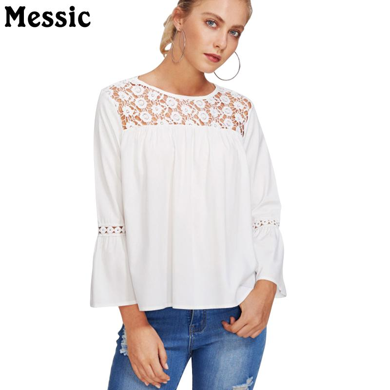 1e1db6942b0f Messic Lace Crochet Hollow Out White T Shirt Top 2018 Summer Flare Long  Sleeve Tee Shirt Women Casual Loose Female T Shirt Sports T Shirts Geek T  Shirts ...