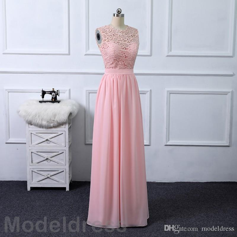 2018 Cheap Blush Pink Bridesmaid Dresses Lace Chiffon Jewel Floor Length Beach Wedding Guest Gowns Party Maid Of The Honor