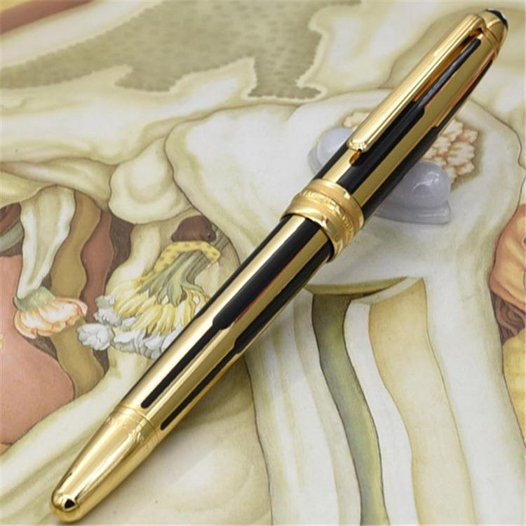 جودة عالية العلامة التجارية الجديدة الأسود والذهب المشارب الأسطوانة الكرة القلم / قلم حبر جاف الفاخرة نافورة القلم الجملة هدية مجانية الشحن