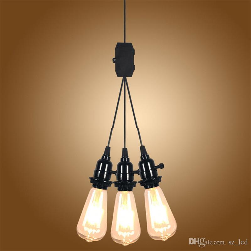 Modern Us Eu Uk Au Plug 3 Head E27 Pendant Light Knob Switch Simple Pendant Lamps For Clothing Store Coffee Shop Study Room