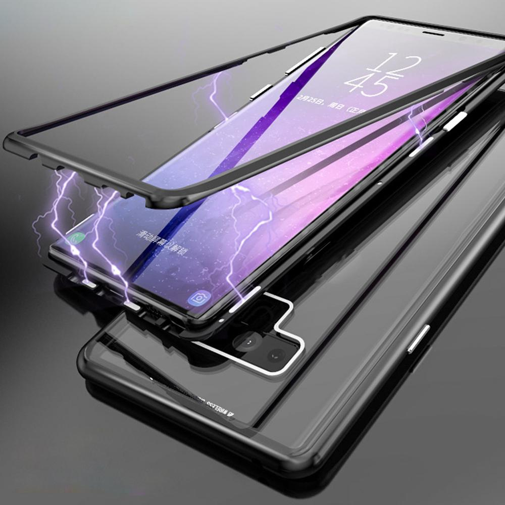 Magnetic Adsorption Case For Samsung S8 S9 Plus Ultra Slim Metal Frame Tempered Glass with Built-in Magnet Flip Cover For Note 8 9