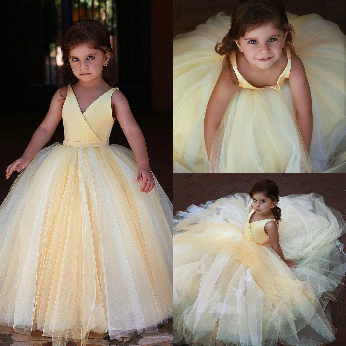 e7114544505 Adorable Light Yellow Flower Girl Dresses V Neckline Sleeveless Tiered  Tulle Girls Pageant Dress Kids Formal Wear Girl Gowns Dresses Girl Occasion  Dresses ...