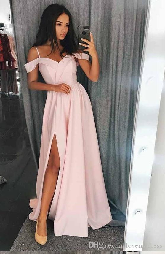 c18088cd6044c Fashion Cold Shoulder Blush Pink Boho Bridesmaid Dresses Long V Neck High  Slit Satin Cheap Wedding Party prom Formal Dress Gowns New