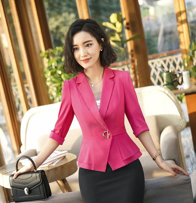 dd6fbb8f92 2019 2018 New Fashion Half Sleeve Blazer Women Summer Spring Formal Slim  Jacket Coat Office Ladies Plus Size Work Wear Uniform From Fitzgerald10