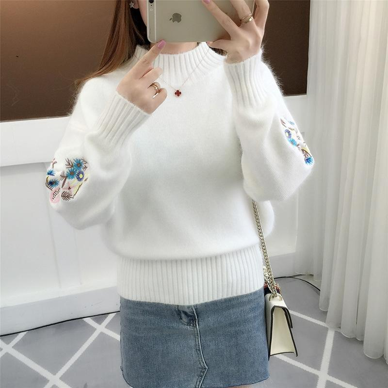 New Fashion 2018 Women Autumn Winter Embroidery Cat Brand Sweater Pullovers Warm Knitted Sweaters Pullover Lady