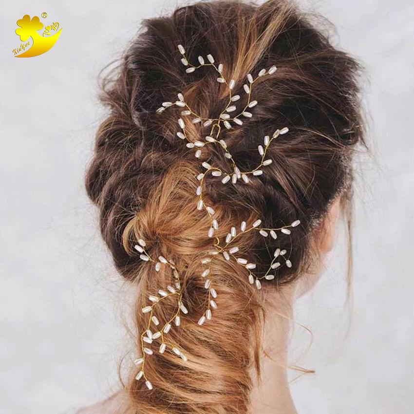 Xinyun Women Simple Gold Beads Hair Pins Handmade Bridal Wedding Hair  Accessories Fashion Hot Sell Ladies Jewelry Ornament
