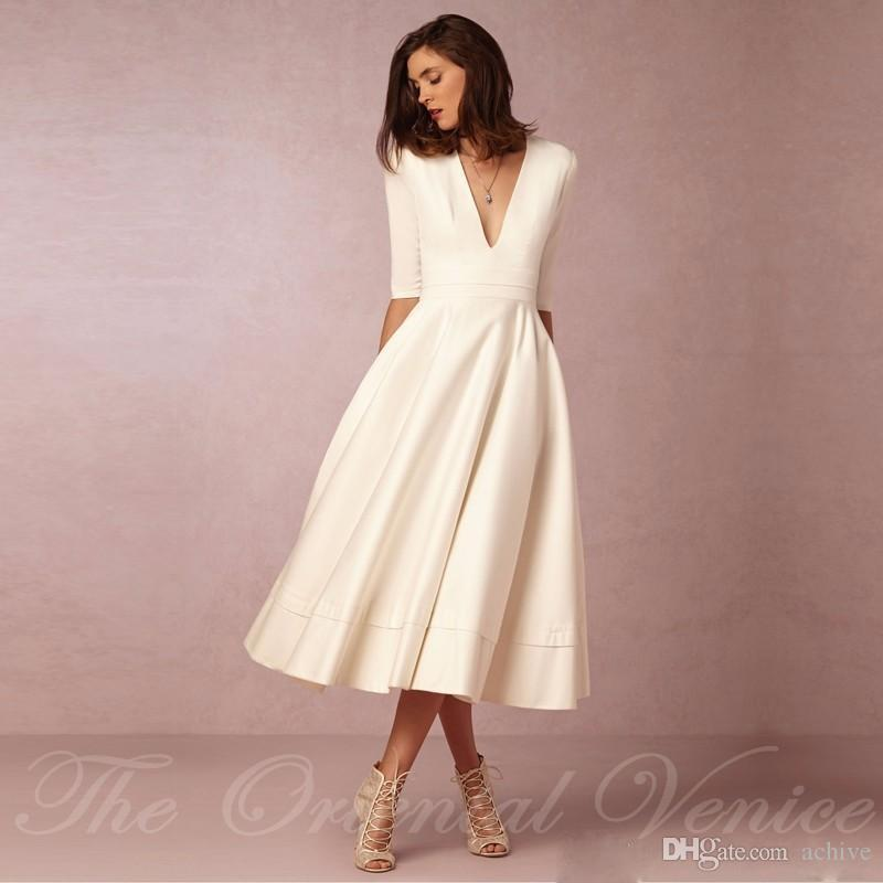 80s Wedding Dress.Vintage Wedding Dresses Tea Length Satin Cheap Short Wedding Dresses With Sleeves Simple Ivory Bridal Gowns 80s Bride Dresses