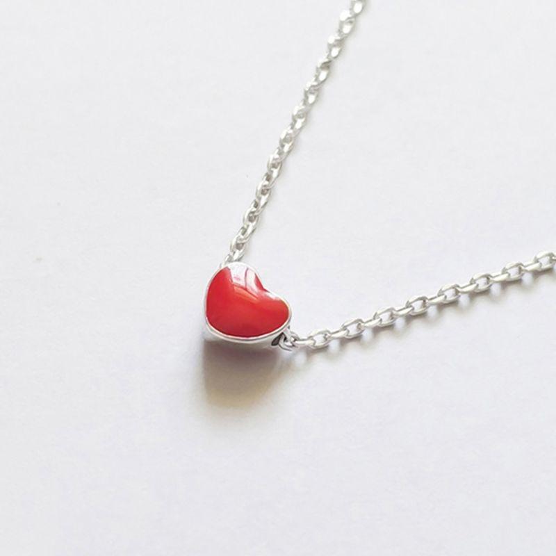 08be2f7d3bf5 Compre Collares De Plata Corazón Rojo Collares Simple Collar De Plata  Gargantilla 925 Joyas Para Mujer Regalo De La Muchacha Al Por Mayor A  33.4  Del ...