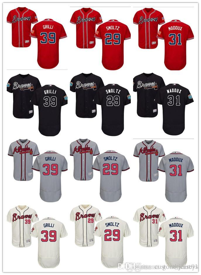 on sale f3b21 611de custom Men s women youth Atlanta Braves Jersey #29 John Smoltz 31 Maddux 39  Jason Grilli Home Blue Red Baseball Jerseys
