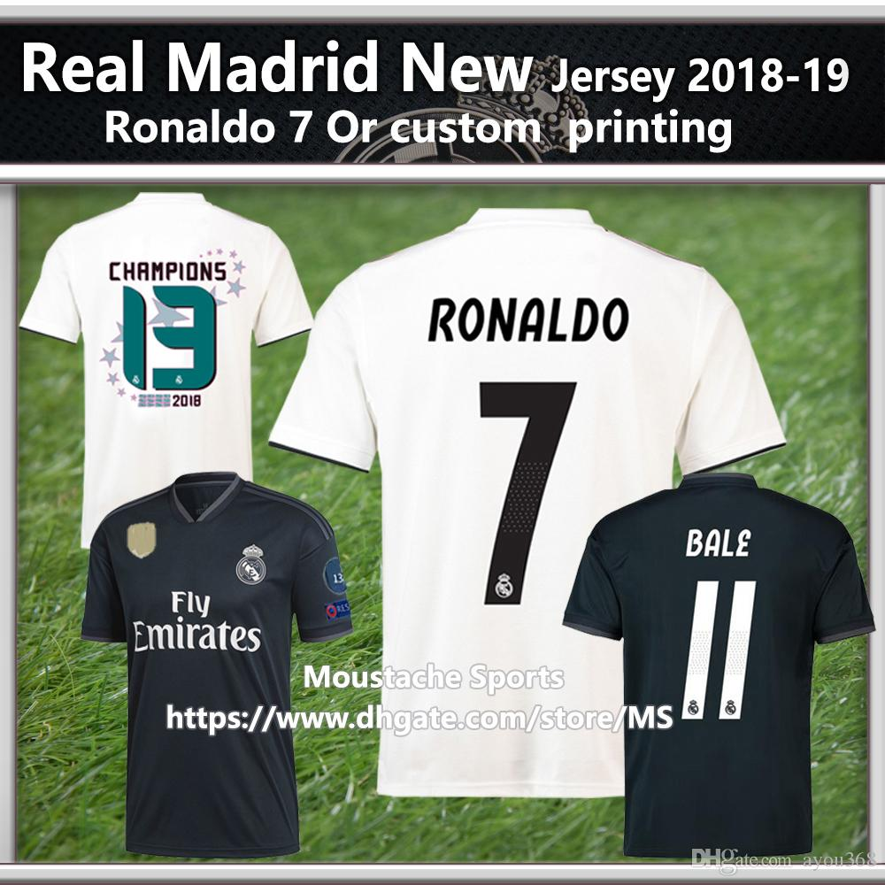 4d5d2c20796 2019 Real Madrid Soccer Jersey Home Shirt 2018 19 With Ronaldo 7 Champions  League Fan Version BALE 11 Football Jeresys MARCELO Club World Cup From  Ayou368