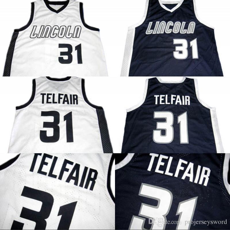 2a7e564b2 Mens Sebastian TELFAIR  31 Lincoln High School Basketball Jersey 100 ...